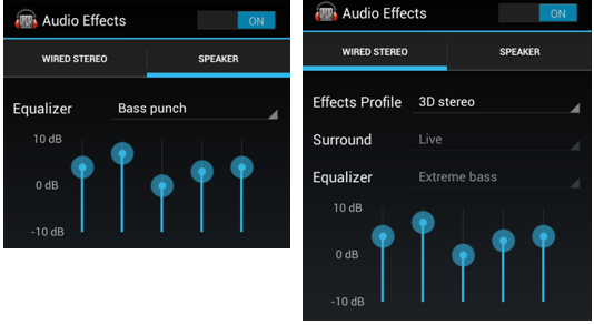 How can I access the audio effects using Jelly Bean (4 1