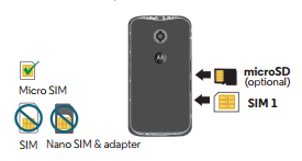 Insert or remove SIM card and memory cards - Moto E 2nd